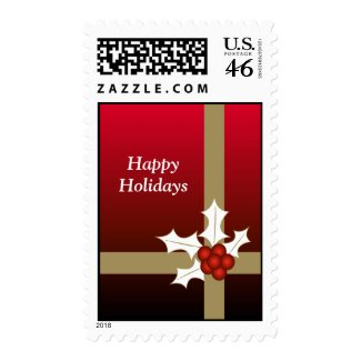 Holly and ribbon - Postage stamp