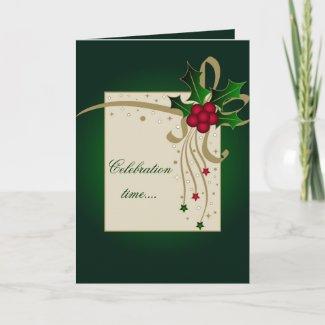 Holly and stars - Card card