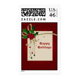 Holly and stars - Postage stamp