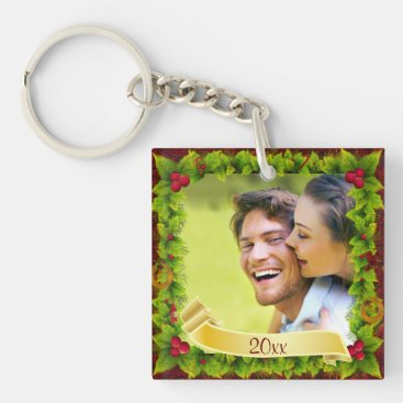 Holly Photo Keepsake Keychain