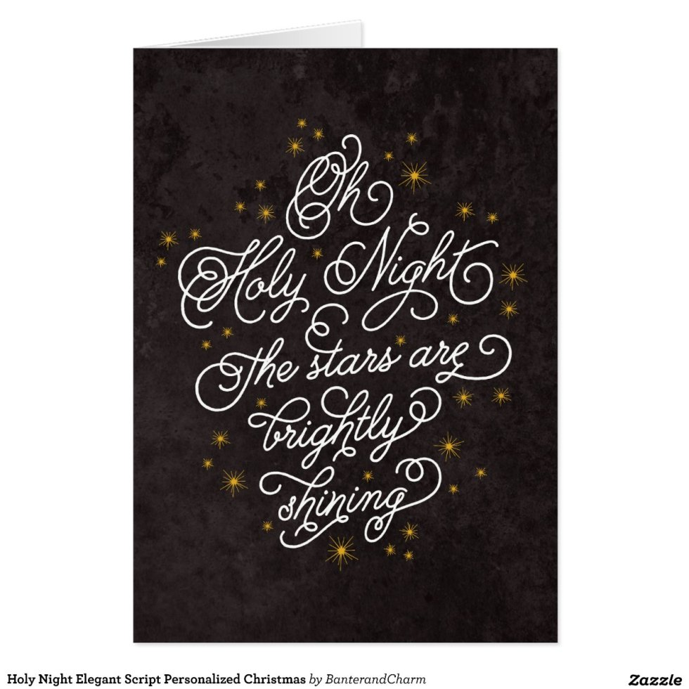holy_night_elegant_script_personalized_christmas_card ...
