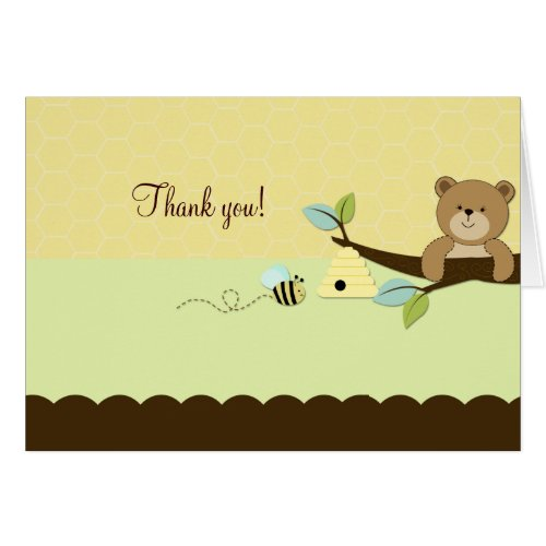 HONEY BEAR & BEE Folded Thank you note