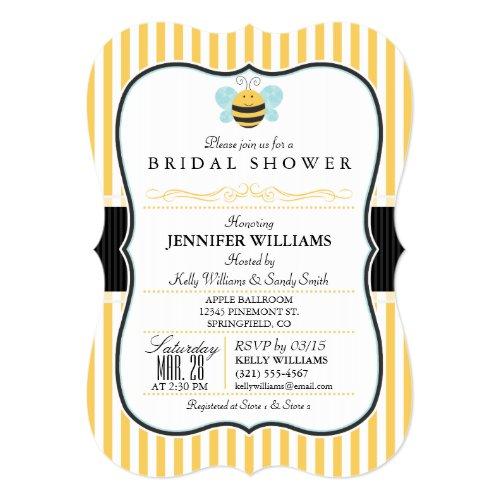 Honey Bee Bridal Shower Invite; Yellow Stripes Invitation