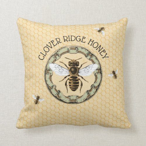 Honey Bee Farm Beekeeper Label 1 Throw Pillow