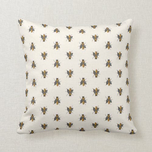 Honey Bees Parade Pattern Throw Pillow
