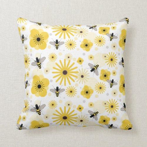 Honeybees & Flowers Pillow
