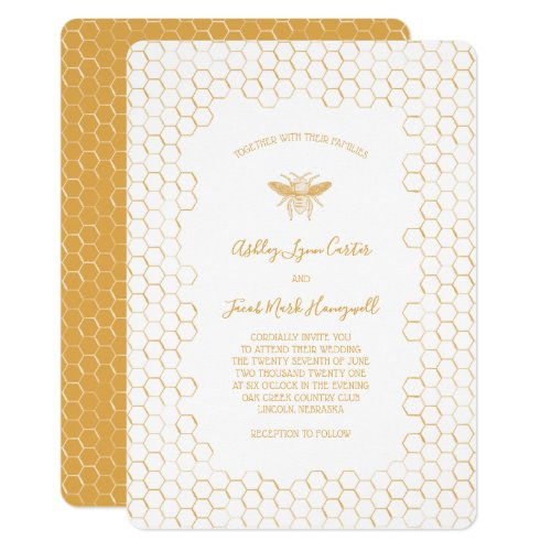 Honeycomb and Bee Wedding Invitation