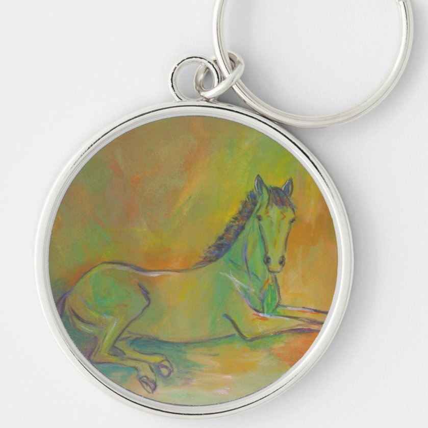 Horse Abstract Pastel Pet Portrait Keychain