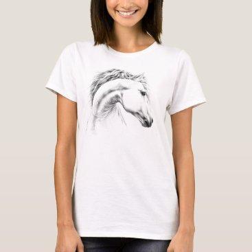 Horse portrait pencil drawing Equestrian art T-Shirt