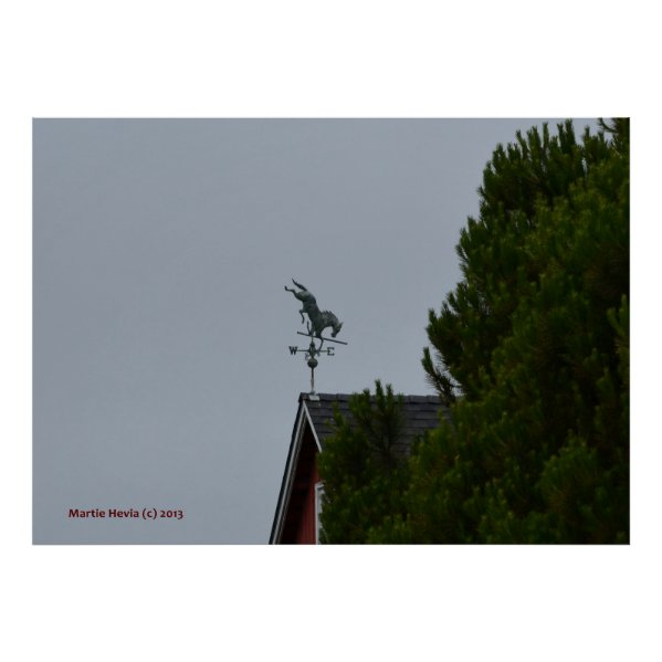 Horse Weathervane on a Red Barn Print
