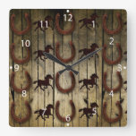 Horses and Horseshoes on Wood  backround Gifts Square Wall Clock
