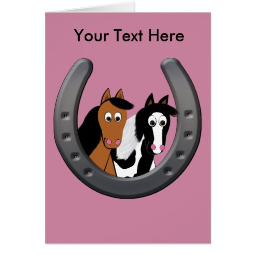 horses in horseshoe card