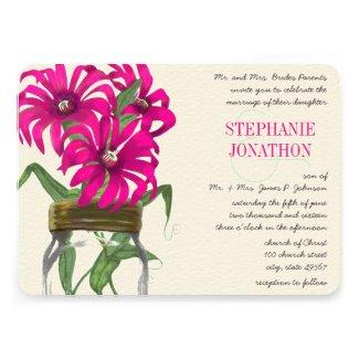 Hot Bright Pink Mason Jar Wild Flower Wedding Custom Invites