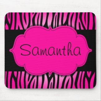 Hot Pink and Black Zebra Personalized Mouse Pad