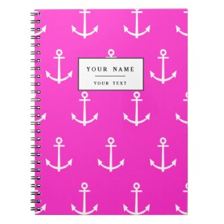 Hot Pink and White Anchors Pattern 1