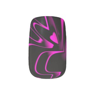 Hot Pink/Black Abstract Minx. Nail Wraps