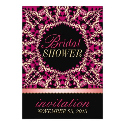 Hot Pink Black Flourish Bridal Shower Party Card
