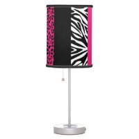 Hot Pink Leopard and Zebra Custom Animal Print Desk Lamp