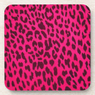 Hot Pink Leopard Print Cork Coaster (Square) on Zazzle