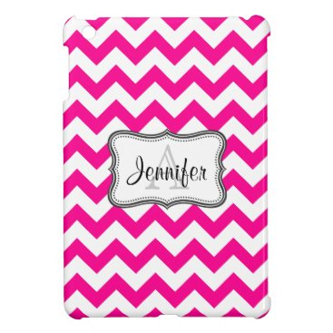 Hot Pink & White Chevron monogram iPad mini case