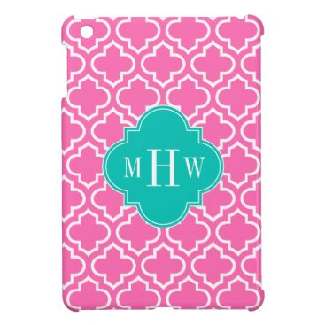 Hot Pink White Moroccan #6 Teal 3 Initial Monogram Case For The iPad Mini