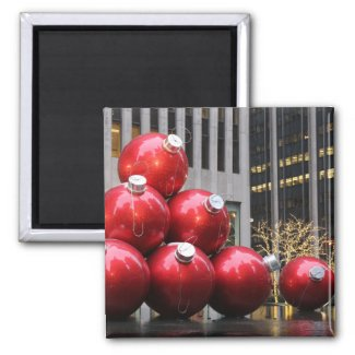 Huge Christmas Ball Ornaments in NYC Fridge Magnet
