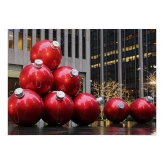Huge Christmas Ball Ornaments in NYC Poster