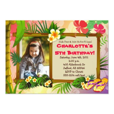 Hula Over!  Hawaiian Tropical Photo Invitations