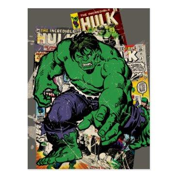 Hulk Retro Comic Graphic Postcard