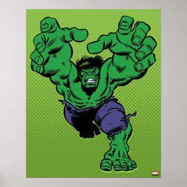 Hulk Retro Grab Poster
