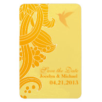 Hummingbird Yellow Flourishes Save the Date Rectangle Magnets