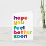Fun Rainbow Words Feel Better Soon Card