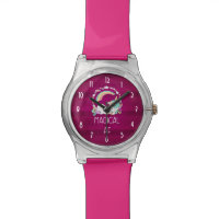 Humorous Unicorn Magical AF on Dark Red Pattern Watch