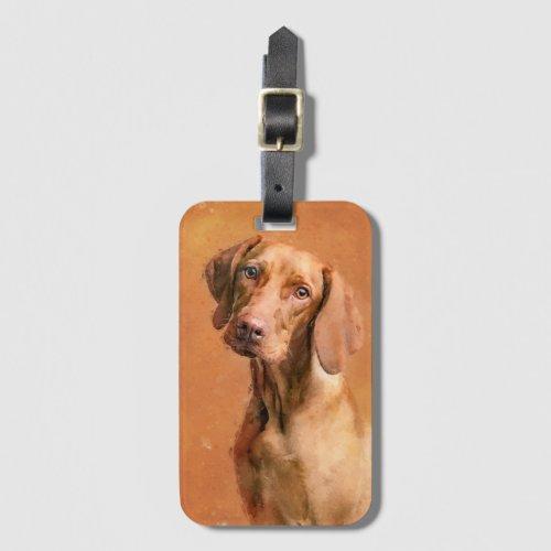 Hungarian Vizsla Dog Art Painting Luggage Tag