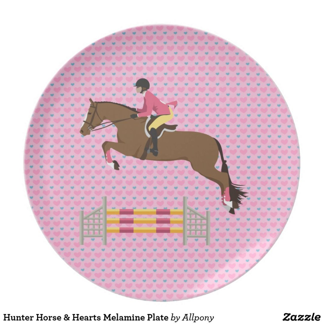 Hunter Horse & Hearts Melamine Plate