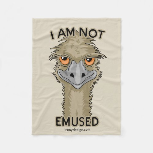 I Am Not Emused Funny Emu Pun | Beige Fleece Blanket