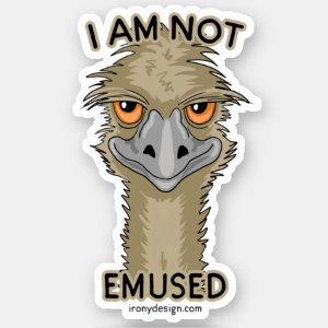 I Am Not Emused Funny Emu Pun Contour Sticker