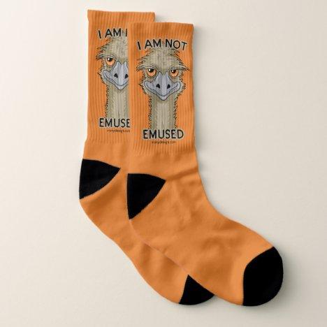 I Am Not Emused Funny Emu Pun | Orange Socks