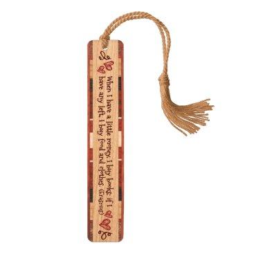 """""""I Buy Books"""" Wooden Bookmark (Erasmus Quote)"""