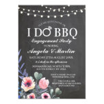 Sweet Pink Floral On Black I Do BBQ Invitation