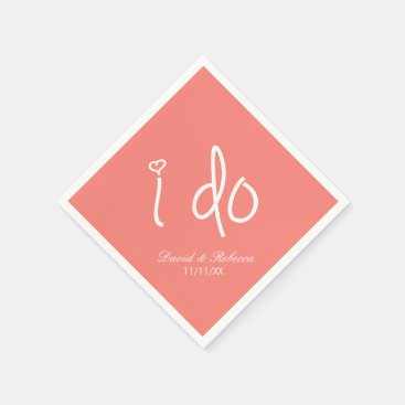 i do - coral pink paper napkin
