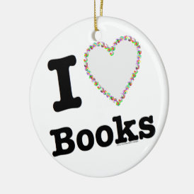 I Heart Books - I Love Books! Colorful Swirls Ceramic Ornament