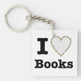 I Heart Books - I Love Books! Colorful Swirls Keychain