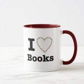 I Heart Books - I Love Books! Colorful Swirls Mug