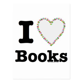 I Heart Books - I Love Books! Colorful Swirls Postcard