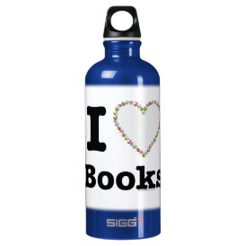 I Heart Books - I Love Books! Colorful Swirls Water Bottle