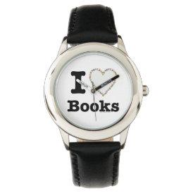 I Heart Books - I Love Books! Colorful Swirls Wristwatch