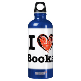 I Heart Books! I Love Books! (Crayon Heart) Aluminum Water Bottle