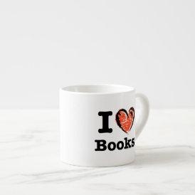 I Heart Books! I Love Books! (Crayon Heart) Espresso Cup