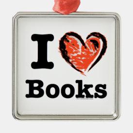 I Heart Books! I Love Books! (Crayon Heart) Metal Ornament
